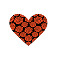 red roses on black heart shape vector image