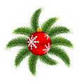 Christmas ball on pine vector image
