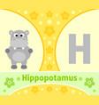the english alphabet with hippopotamus vector image