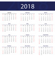 2018 calendar popular blue premium for business vector image vector image