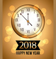 2018 new year gold shining background with clock vector image vector image
