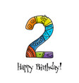 2th anniversary celebration greeting card vector image vector image