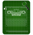 3d model of typewriter on a green vector image