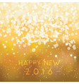 Abstract blurred gold card happy new 2016 vector image