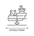 anchored ship linear icon vector image