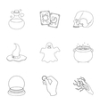 Black and white magic set icons in outline style vector image vector image