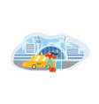 calling taxi from airport flat concept vector image vector image