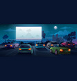 car cinema or drive in movie theater auto theatre vector image vector image