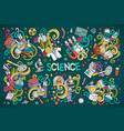 cartoon set of science theme doodles design vector image vector image