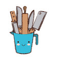 container with knives colorful kawaii blurred vector image vector image