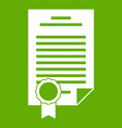 contract icon green vector image vector image