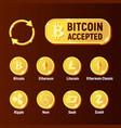 cripto currency exchange icon set vector image