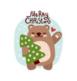 cute bear with happy holidays inscription vector image