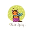Cute little spotted cat in the box vector image vector image