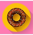 Cute sweet colorful chocolate donut icon Flat