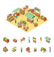 farm local market concept and elements 3d vector image vector image