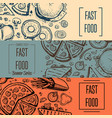 fast food vintage hand drawn flyer set vector image