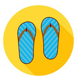 Flat Flip Flops Shoes Circle Icon with Long Shadow vector image