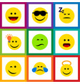 flat icon face set of laugh angel happy and vector image vector image