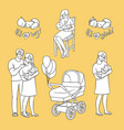 flat newborn baby symbols for coloring book vector image vector image