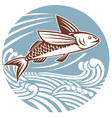 flying fish with waves retro style vector image vector image