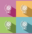 globe icon with shade on colored background vector image vector image