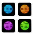 glowing neon earth globe icon isolated on white vector image vector image