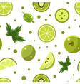 green food seamless pattern with fresh fruits and vector image