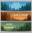 Green pines forest banners vector image vector image