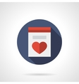 Greeting card with heart round flat icon vector image vector image