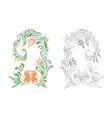 Hand drawn orange vintage floral ornament vector image