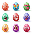 happy easter cartoon set egg icon vector image vector image