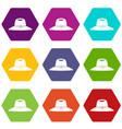 hat icon set color hexahedron vector image vector image