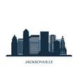 jacksonville skyline monochrome silhouette vector image vector image