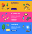 kid playground elements 3d banner horizontal set vector image vector image