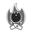 monochrome bowling emblem with fire and game vector image vector image
