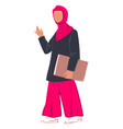 muslim woman student with paper in clip vector image vector image