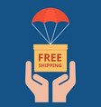 parcel with parachute for shipping in hand vector image
