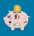 piggy bank saving money portion for life vector image vector image