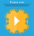 play button Floral flat design on a blue abstract vector image vector image