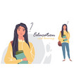 portrait young beautiful woman student thinking vector image vector image