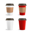 Red and White Paper Coffee Cup Set vector image vector image