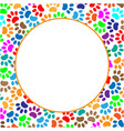 round frame colorful paws animals vector image vector image