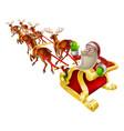 santa christmas sleigh vector image