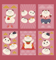 set japanese lucky cat vertical poster vector image vector image
