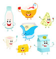 set of funny dairy products with smiling human vector image vector image