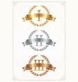 set rank emblems - gold silver bronze vector image