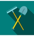Shovel and rake icon flat style vector image