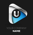 silver letter u logo in silver-blue triangle shape vector image vector image