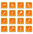 steel arms items icons set orange square vector image vector image